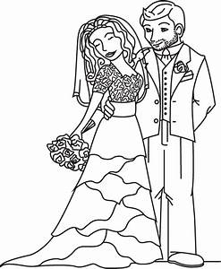 Weddings Bride And Groom Free Colouring Pages