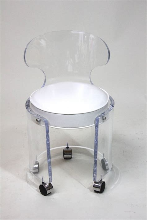 Swivel Vanity Chair With Wheels by 1970 Lucite Vanity Chair Glam In White Leather Charles