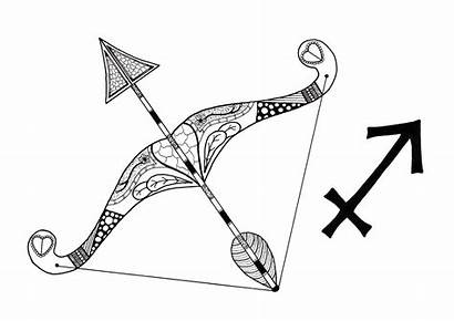 Sagittarius Adult Coloring Arrow Bow Pages Between