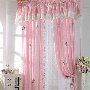 Cute patterned pink kids room curtains for little girls for Pink curtains for little girls room