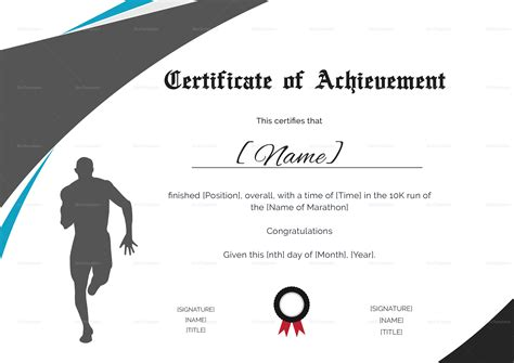 Run Certificate Template by Achievement Certificate For Running Template In Psd Word