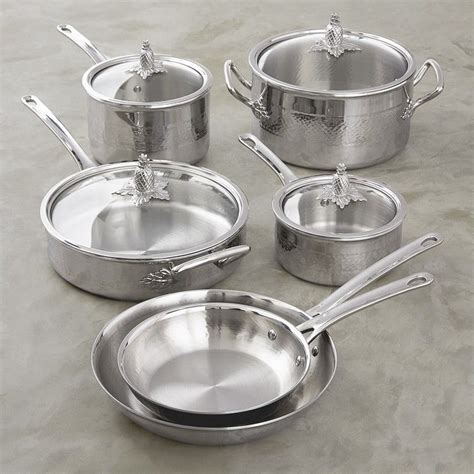 ruffoni omegna hammered stainless steel  piece cookware set  cookware set copper