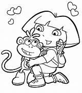 Dora Coloring Explorer Pages Printable sketch template