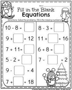 st grade worksheets  january equation worksheets