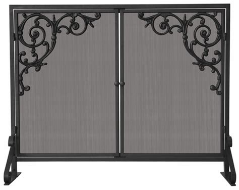 single panel fireplace screen with doors uniflame single panel olde world iron fireplace screen