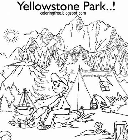 Coloring Countryside Printable Clipart Camping Drawing Yellowstone