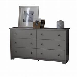 South Shore Vito 6-Drawer Double Dresser in Soft Gray