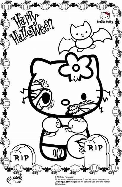 Halloween Kitty Coloring Hello Pages Zombie