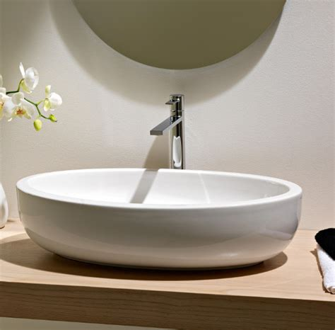 Modern Above Counter Bathroom Sinks by Beautiful Oval Above Counter Vessel Bathroom Sink By