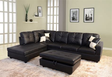 hton leather reversible sectional and storage ottoman low profile black faux leather sectional sofa w left arm