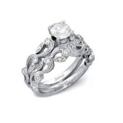 Vintage White Gold Wedding Ring Sets