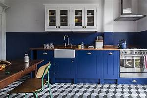 steal this look a cost conscious retro kitchen in london With kitchen colors with white cabinets with wall art map of world