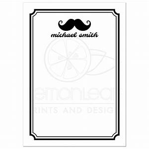 Black And White Cards Hipster Mustaches Black And White Personalized Name Flat