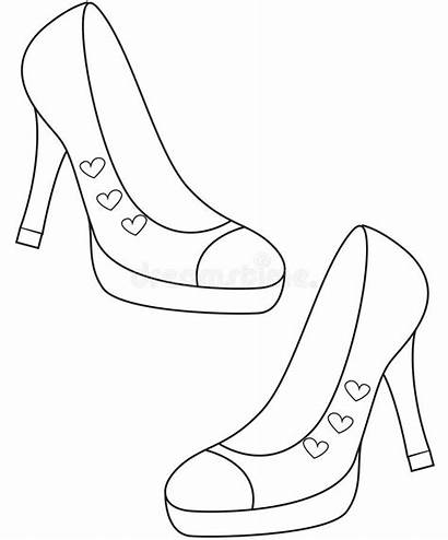 Coloring Shoes Lady Pages Heel Illustration Rain