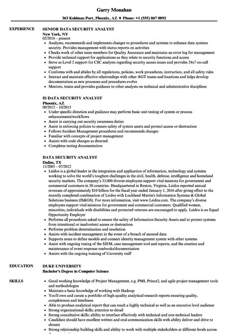 Security Analyst Resume by Data Security Analyst Resume Sles Velvet