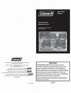 Coleman Dual Fuel Instructions For Use Manual Pdf Download