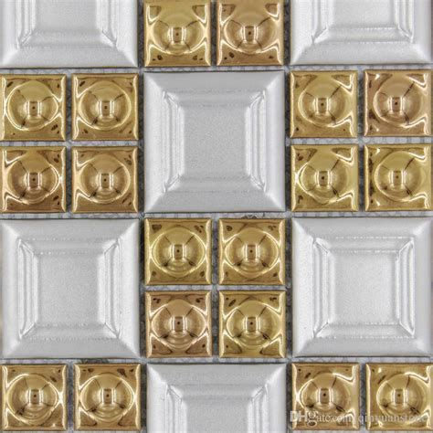 2018 sale porcelain gold white color square mosaic
