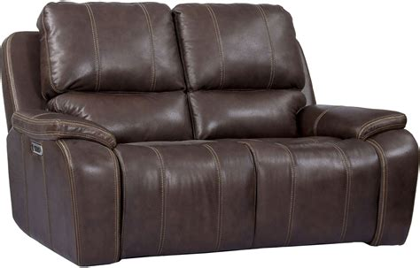 Dual Reclining Loveseat Leather by Potter Walnut Genuine Leather Power Dual Reclining
