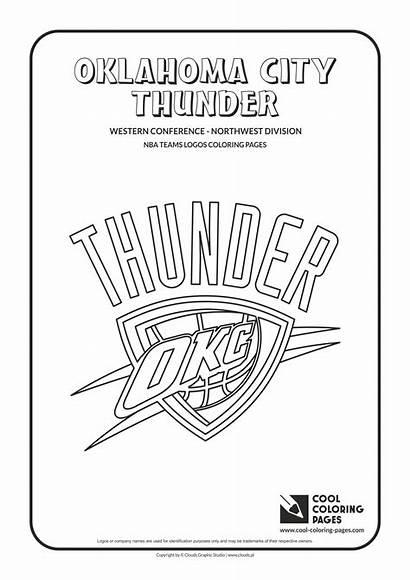 Nba Coloring Basketball Pages Thunder Logos Teams