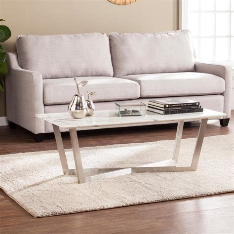 Gold/marble medium round marble coffee table with hammered base with 10 reviews. Southern Enterprises Tarle Faux White Marble Cocktail Table-HD748368 - The Home Depot