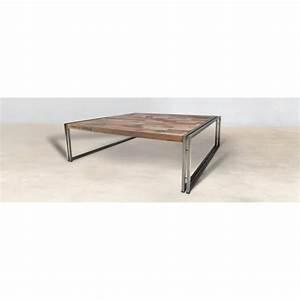 Table Carrée 120x120 : table basse carr e en bois style industriel 120x120cm caravelle ~ Teatrodelosmanantiales.com Idées de Décoration