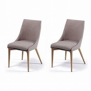 Chaise De Sejour : chaise de sjour chaise en tissu gris ruben lot de 2 2 chaises de sejour pieds chne romane ~ Teatrodelosmanantiales.com Idées de Décoration