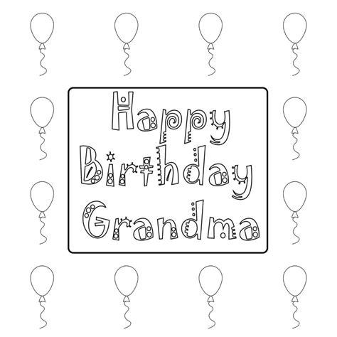 Happy Birthday Grandmother Grandma Granny Coloring Pages