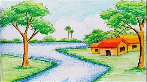 draw  landscape  diamond color pencil youtube