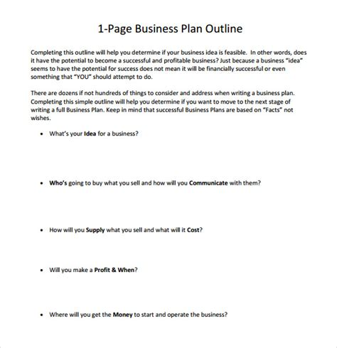 one page business plan template 10 one page business plan sles sle templates