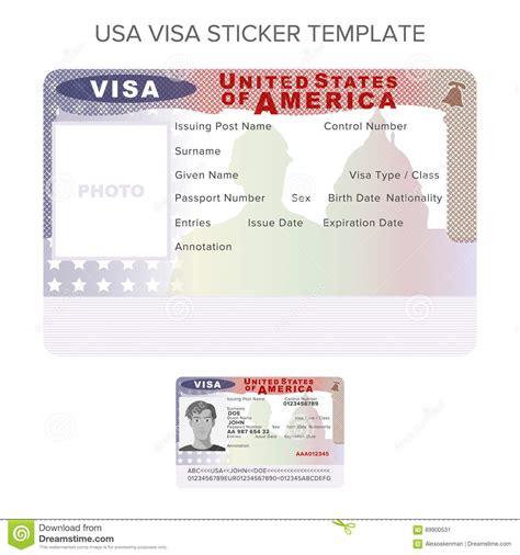 vector usa passport visa sticker template  flat style