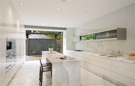 Extraordinary Kitchen Kickboard with White Marble Floor