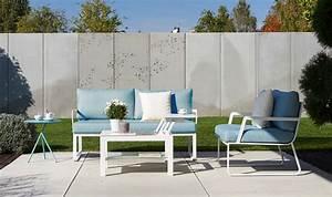 Salon De Jardin Blanc : salon de jardin design bleu ciel et blanc 3 places tampa ~ Teatrodelosmanantiales.com Idées de Décoration