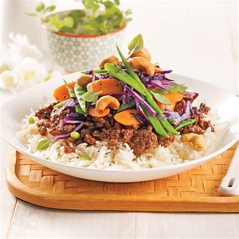 hache de cuisine sauté de boeuf haché à la thaï recettes cuisine et