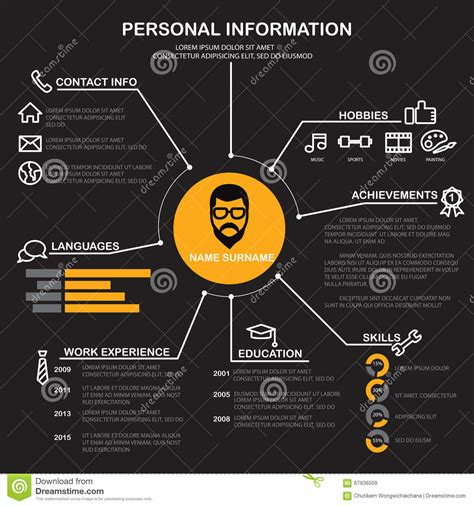 Personal Background Resume Cv Template Vector Stock Vector Image 67936509