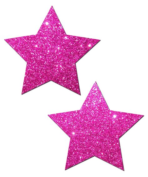 Pair of Hot Pink Glitter Star Pasties STR-GLT-HPK