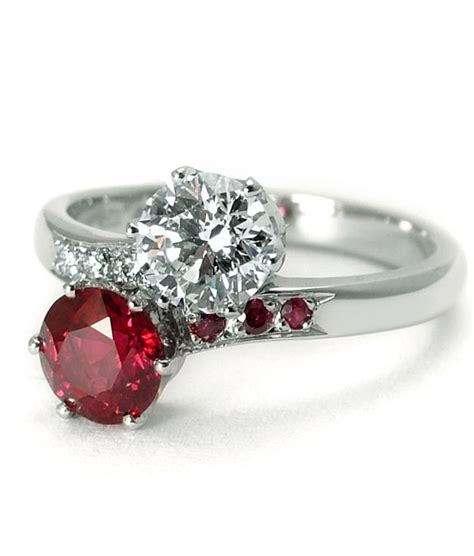 2 ruby ring two engagement ring