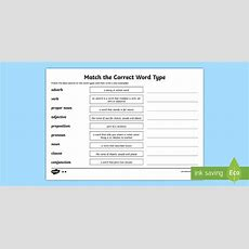 Match The Correct Word Class Worksheet Twinkl