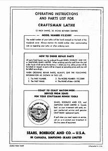 Craftsman 113 23881 Lathe Operating Instructions And Parts
