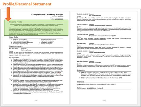 Personal Statement Career Exles by How To Write A Cv The Ultimate Guide Cv Template