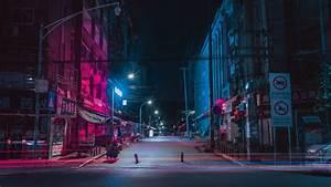 Download, Wallpaper, 3840x2160, Street, Night, City, Neon, Buildings, 4k, Uhd, 16, 9, Hd, Background