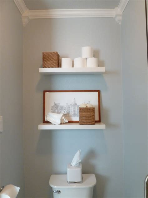 shelves above toilet home tour source list tell er all about it Floating