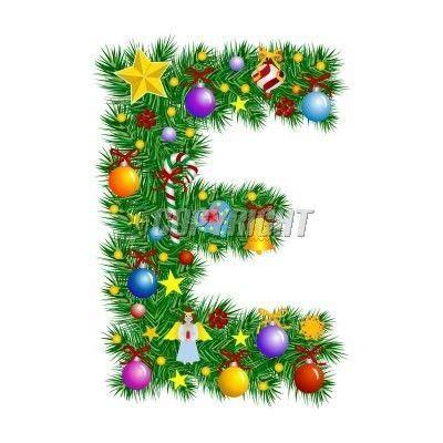letter e letter e christmas tree decoration vector