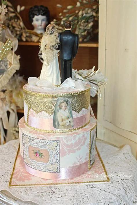 vintage cake topper wedding keepsake memory cake box