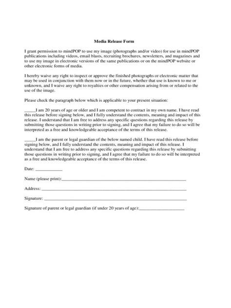 social media photo release form template media release form template business