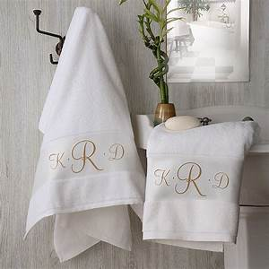 2896 monogram elegance personalized bath towel for Embroidered towels for wedding gift