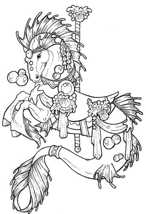21 best Coloring Pages: Advanced Carousel Horses images on