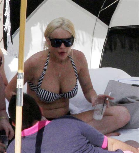 lindsay lohan bikini candids  miami  gotceleb