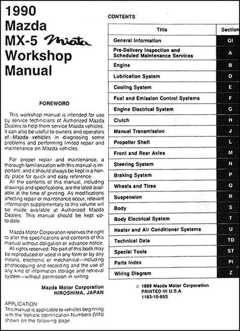 how to download repair manuals 2004 mazda miata mx 5 lane departure warning 1990 mazda mx 5 miata repair shop manual original