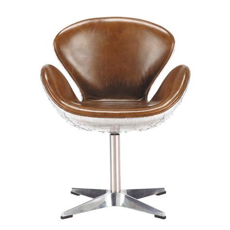 fauteuil de bureau cuir vintage fauteuil vintage en cuir marron harisson maisons du monde