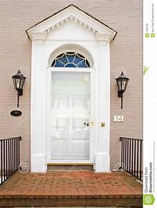 Georgian Front Door Of Brick House Stock Image - Image of